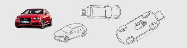 Individuelle Audi USB-Sticks als Ausgangsprodukt und Konzept