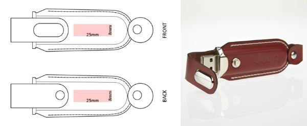 USB-Stick RS417 aus Leder mit Praegung